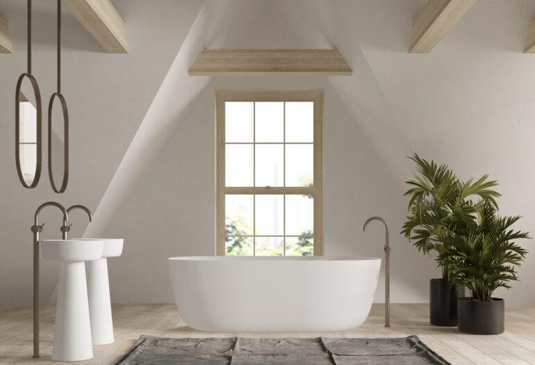 Fürdőszoba a tetőtérben